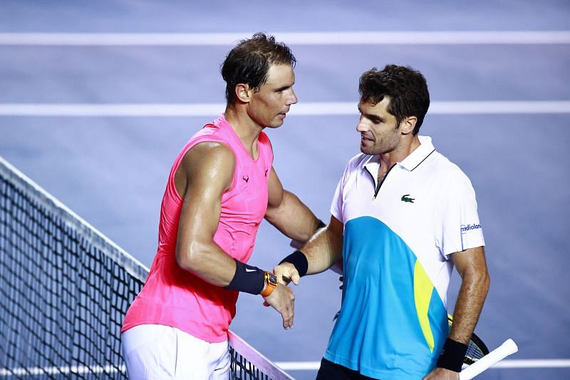 Rafael Nadal (L) and Pablo Andujar at the Telcel ATP Mexican Open 2020