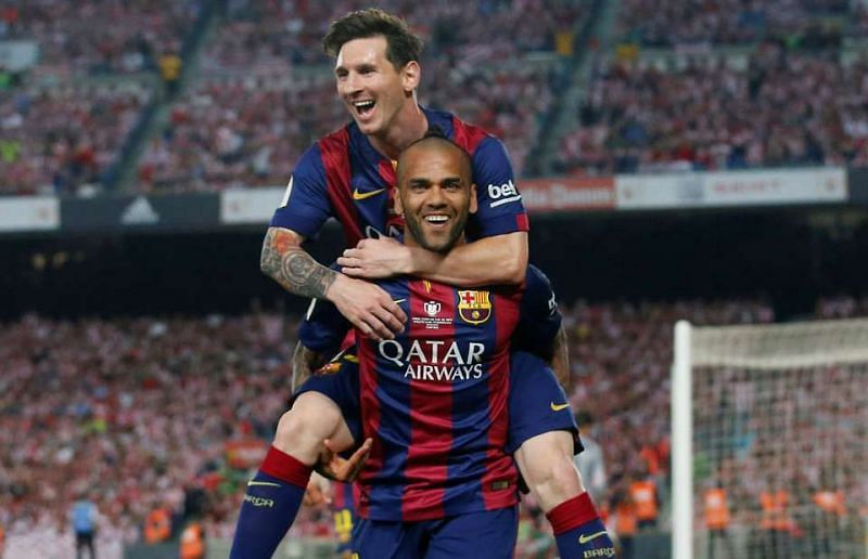 Dani Alves and Lionel Messi