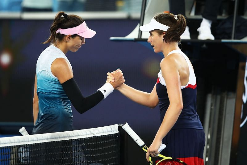 Garbine Muguruza (L) and Johanna Konta