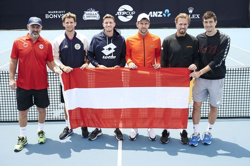 Thomas Muster as the captain of the Austrian team at the ATP Cup in January along with Dominic Thiem, Dennis Novak, Jurgen Melzer, Oliver Marach and Sebastian Ofner
