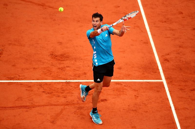 Dominic Thiem in action at the 2019 French Open
