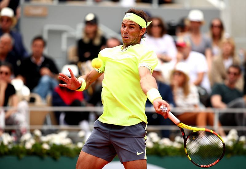 Rafael Nadal plays a forehand against Dominic Thiem at the 2019 French Open in Paris.