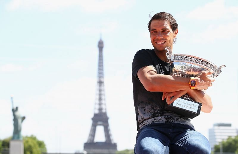 Rafael Nadal with the 2017 French Open trophy