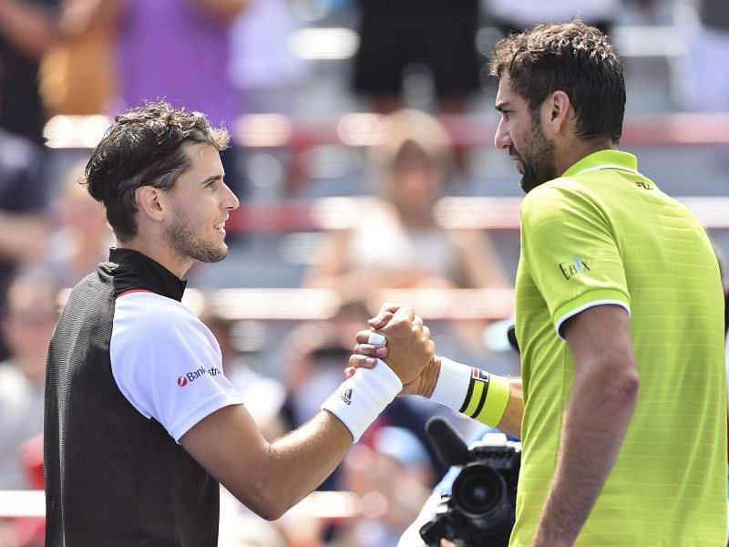 Dominic Thiem (L) and Marin Cilic at the 2019 Rogers Cup