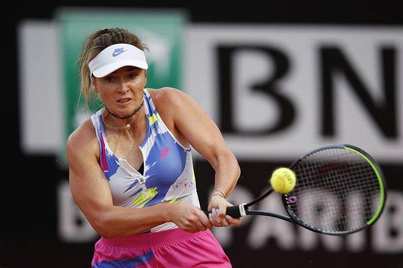 Elina Svitolina hits a backhand