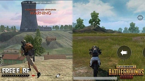 Comparison of Free Fire and PUBG Mobile graphics (Image credits: Anonymous Wolf, YT)