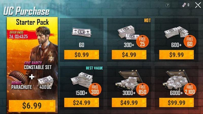 PUBG Mobile UC cash (Image credits: Gamepur)
