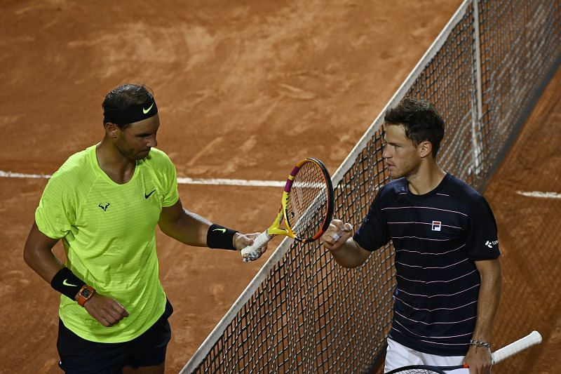 Rafael Nadal of Spain and Diego Schwartzman of Argentina at the Internazionali BNL d