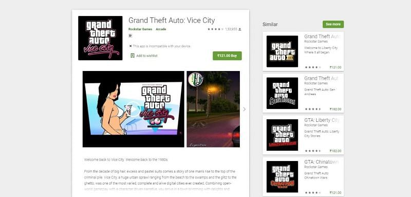 GTA Vice City on Google Play Store