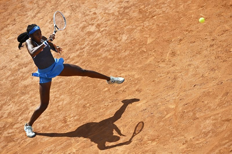 Coco Gauff in action at the Italian Open
