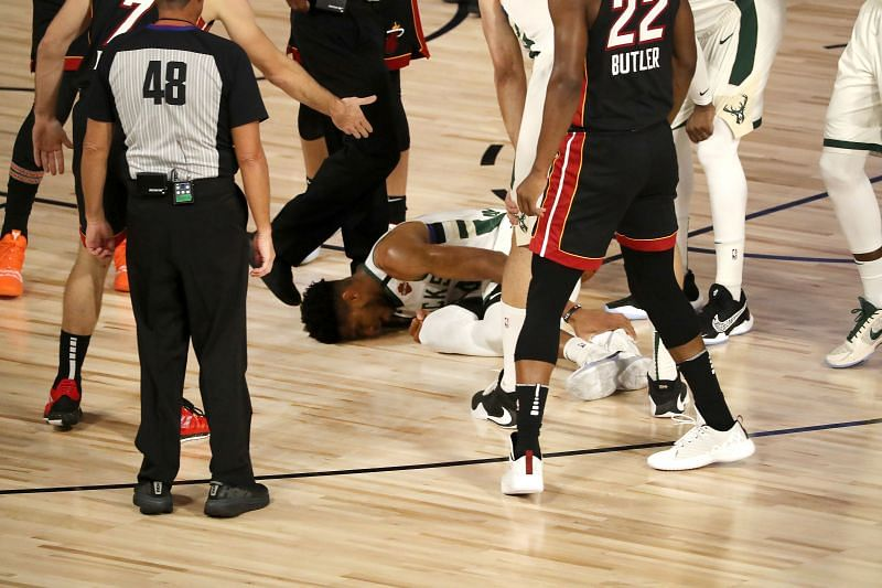 Giannis Antetokounmpo injured his ankle in Game 4 of the Eastern Conference Semifinals