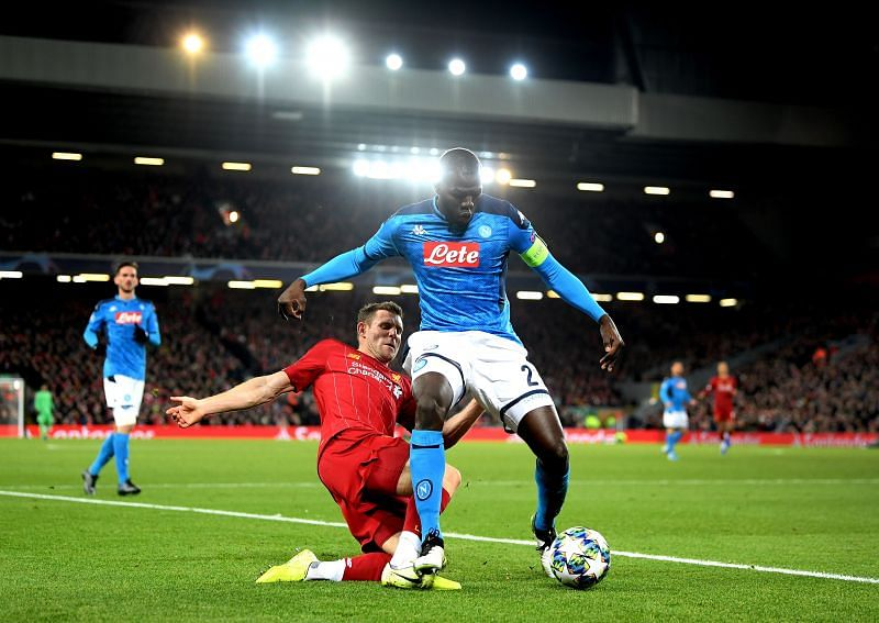 Kalidou Koulibaly in action for Napoli against Liverpool in the 2019-20 UEFA Champions League