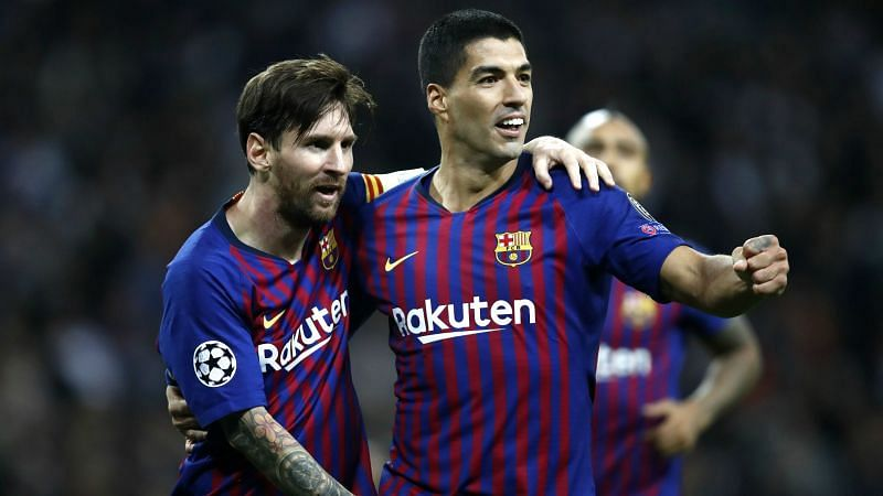 Lionel Messi (left) and Luis Suarez (right) in happier times.