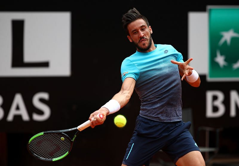 Damir Dzumhur during his match against Rafael Nadal at the Internazionali BNL d