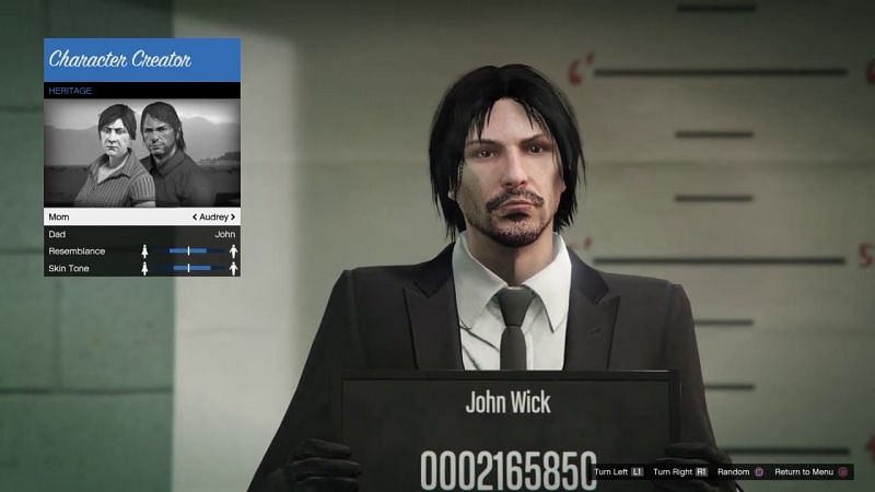 Keanu Reeves' character from the John Wick series can be easily recreated in GTA Online (Image Credits: Valkira Gaming, YouTube)