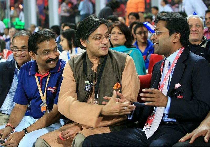Shashi Tharoor with former IPL chairman Lalit Modi during IPL 2010. Image Credits: ESPNcricinfo