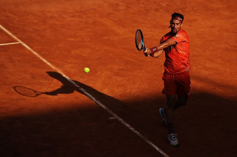 Fabio Fognini during his round two match at the Internazionali BNL d