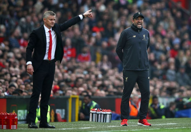 Manchester United and Liverpool managers Solskjaer and Klopp