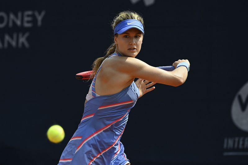 Eugenie Bouchard hits a backhand