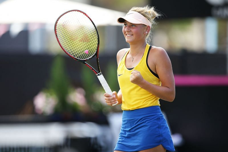 Marta Kostyuk is playing in just her second Grand Slam tournament