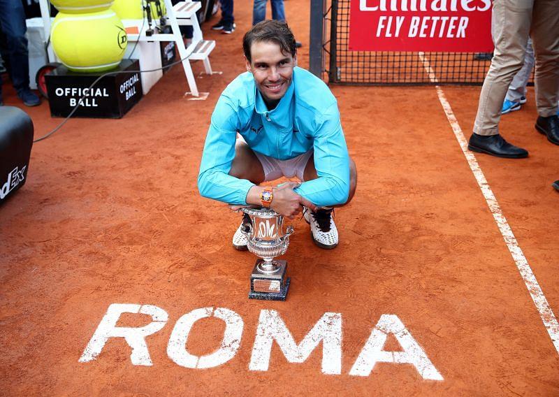 Rafael Nadal celebrates winning the title at the 2019 International BNL d