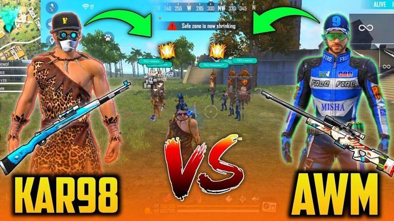 Free Fire: A comparison between AWM & Kar98k (Image credits: TSM Mann)