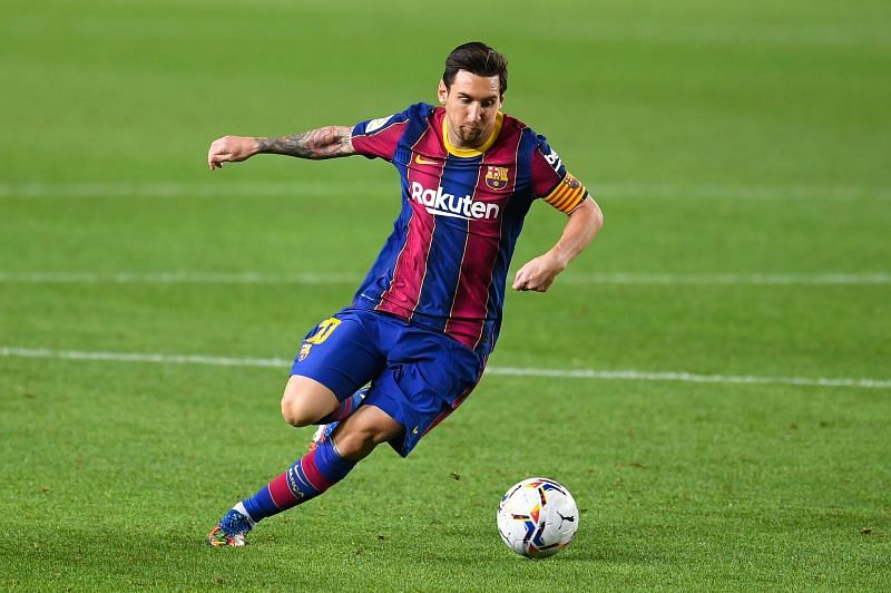 Messi in action during Barcelona