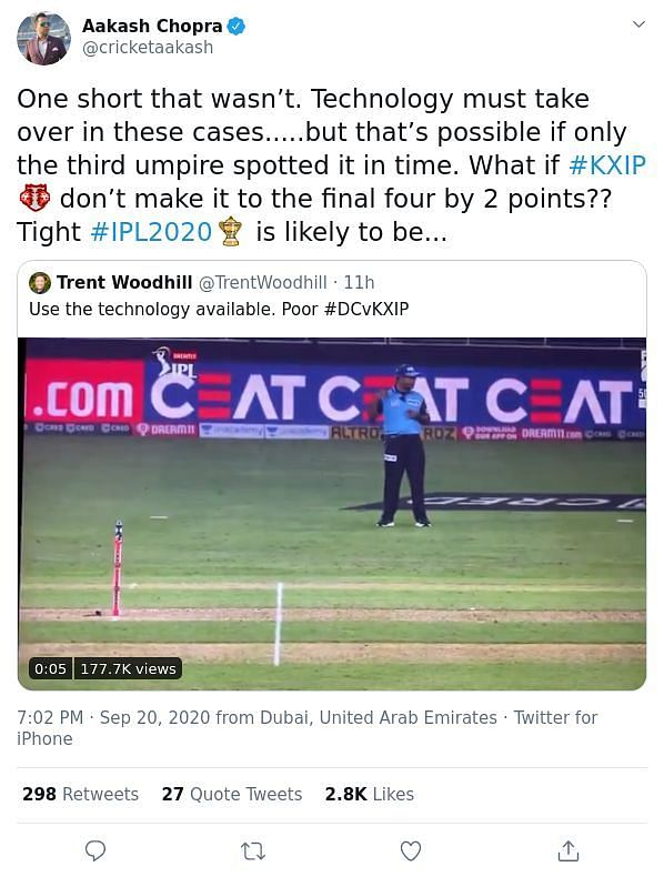 Aakash Chopra believes that technology should be used more in the IPL.