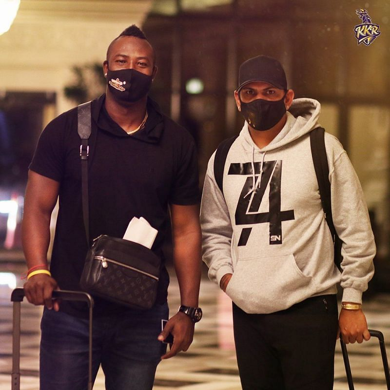 Andre Russell and Sunil Narine arrive for IPL 2020