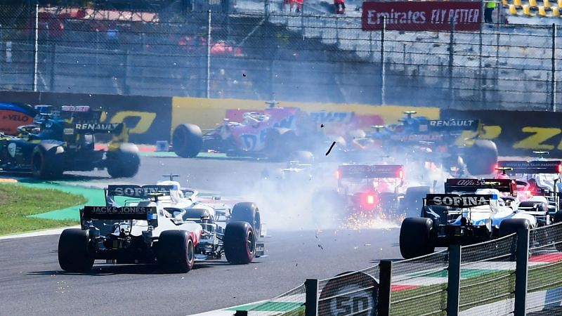 Drivers collide during the Tuscany Grand Prix