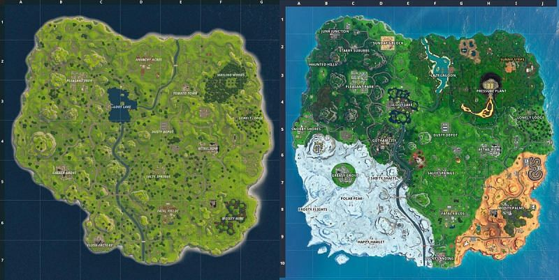 The map in Fortnite changes very frequently from season to season with new updates (Image credit: Forbes)