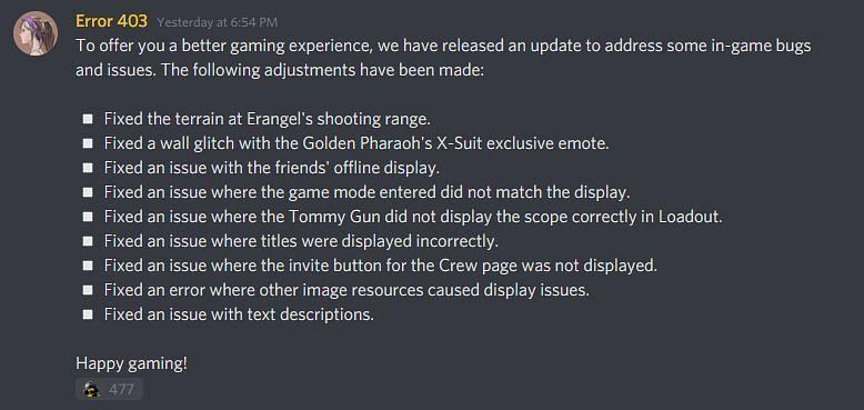 Official announcement screenshot