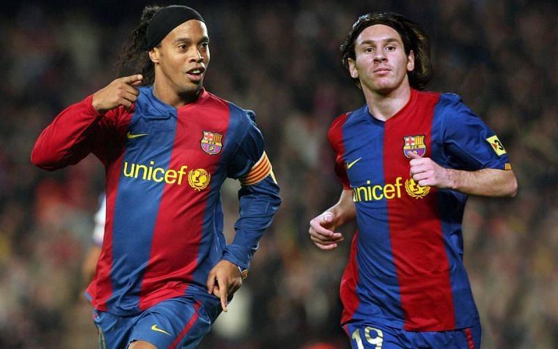 Ronaldinho (left) and Lionel Messi