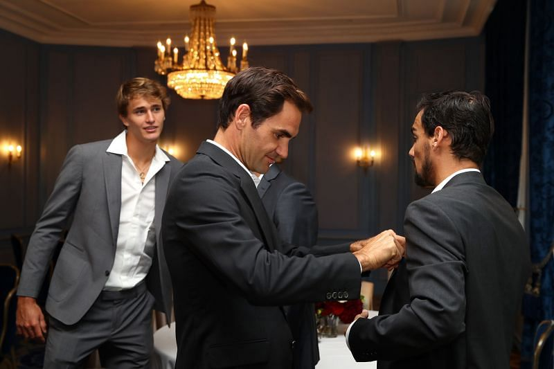 Roger Federer, Alexander Zverev and Fabio Fognini at the Laver Cup