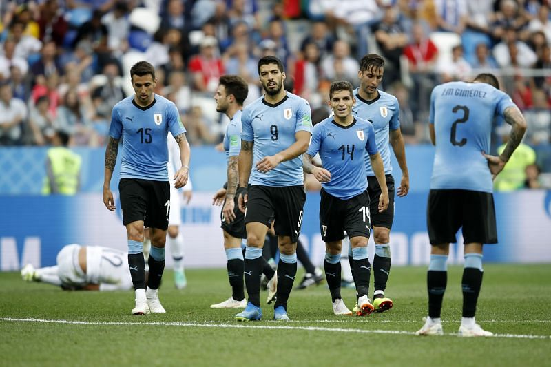 Suarez (#9) and Torreira (#14) have played together for Uruguay