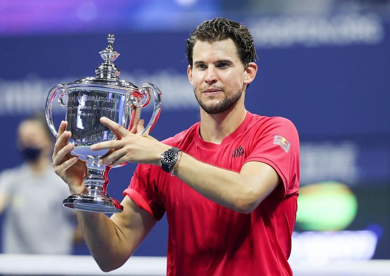 Dominic Thiem poses with the 2020 US Open trophy