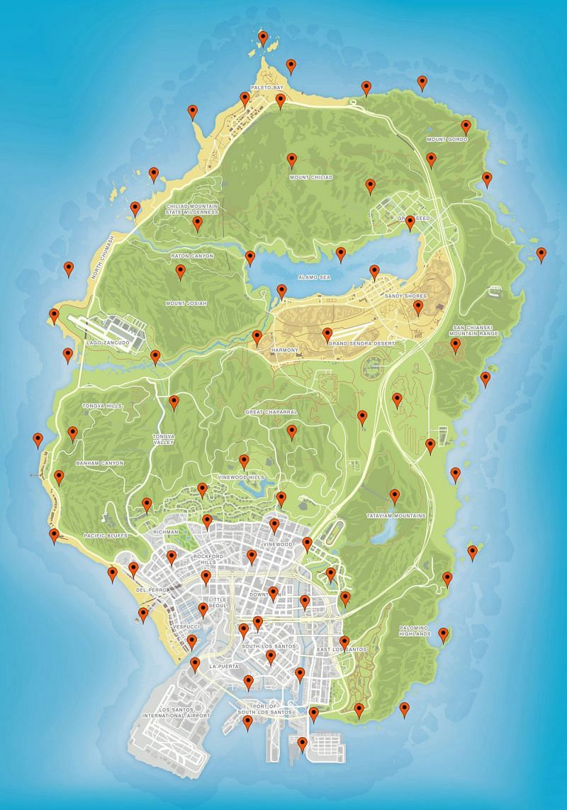 Locations of all peyote plants on the map (image credits: GamesRadar)