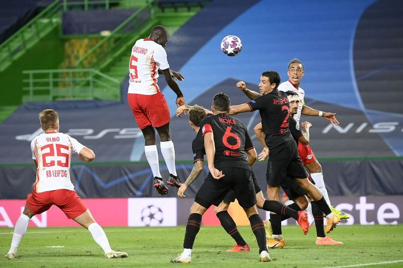 Dayot Upamecano showing his aerial prowess against Atletico Madrid.