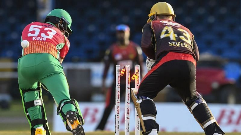 Brandon King (L) finally had a good game in the CPL