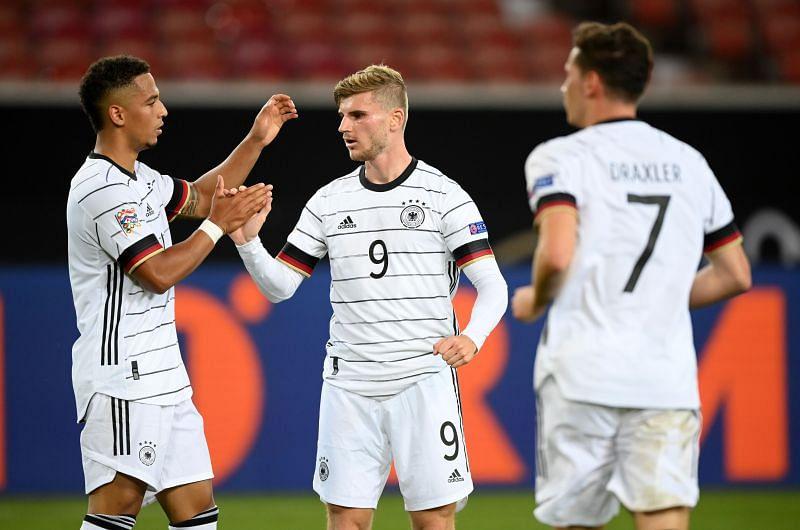Timo Werner celebrates scoring Germany