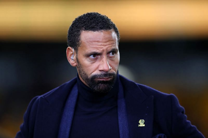 Rio Ferdinand pitch side for BT Sport television