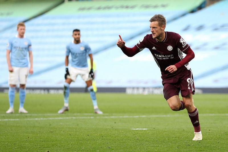 Vardy celebrates scoring his second penalty