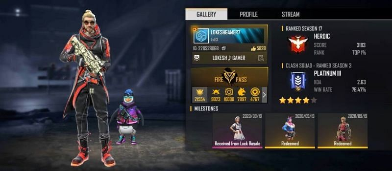 Lokesh Gamer's Free Fire ID number, stats, K/D ratio and more