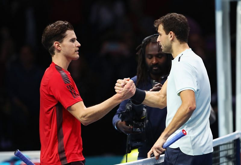 Grigor Dimitrov and Dominic Thiem at he Nitto ATP Finals in November, 2017