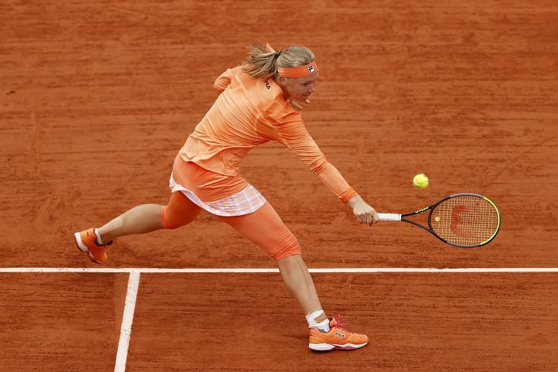 Kiki Bertens during her first round match at the French Open in Paris