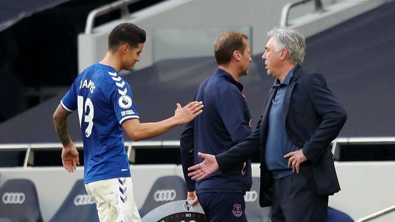 James Rodriguez and Everton boss Carlo Ancelotti