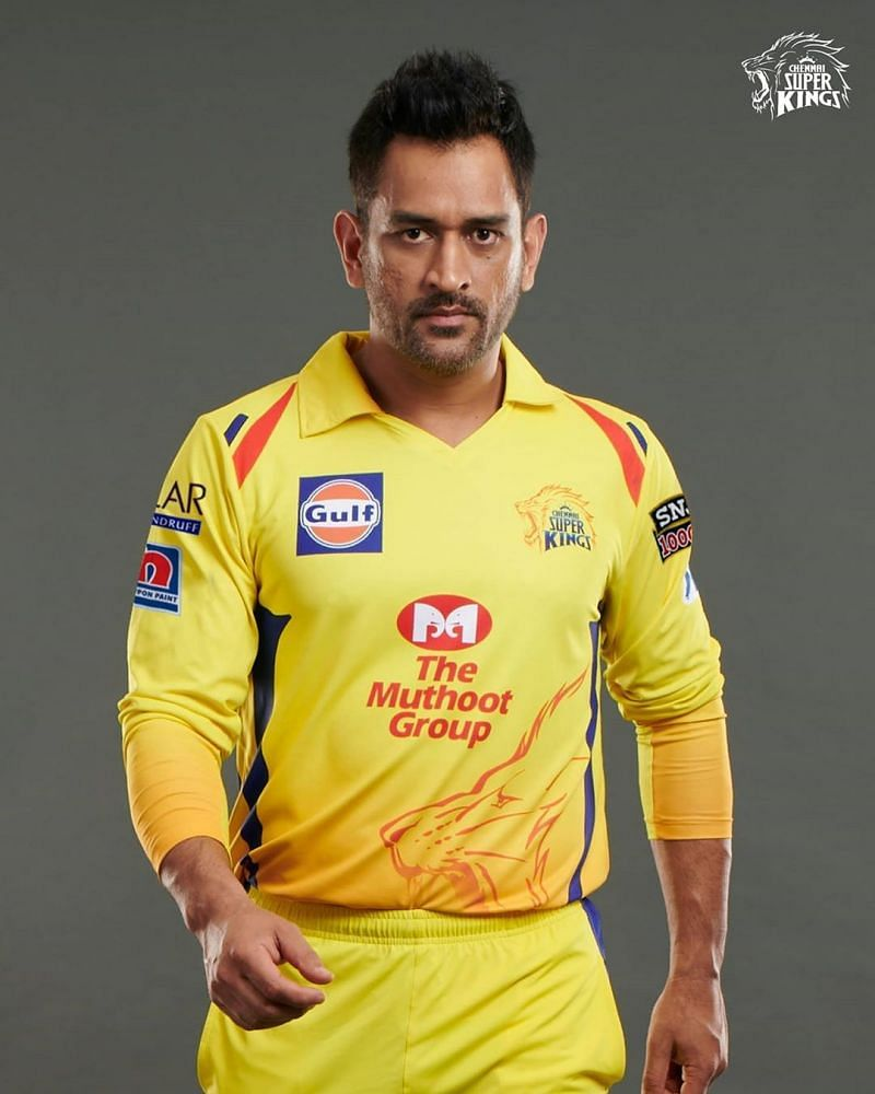 MS Dhoni donning the new CSK kit. Image Credits: Chennai Super Kings