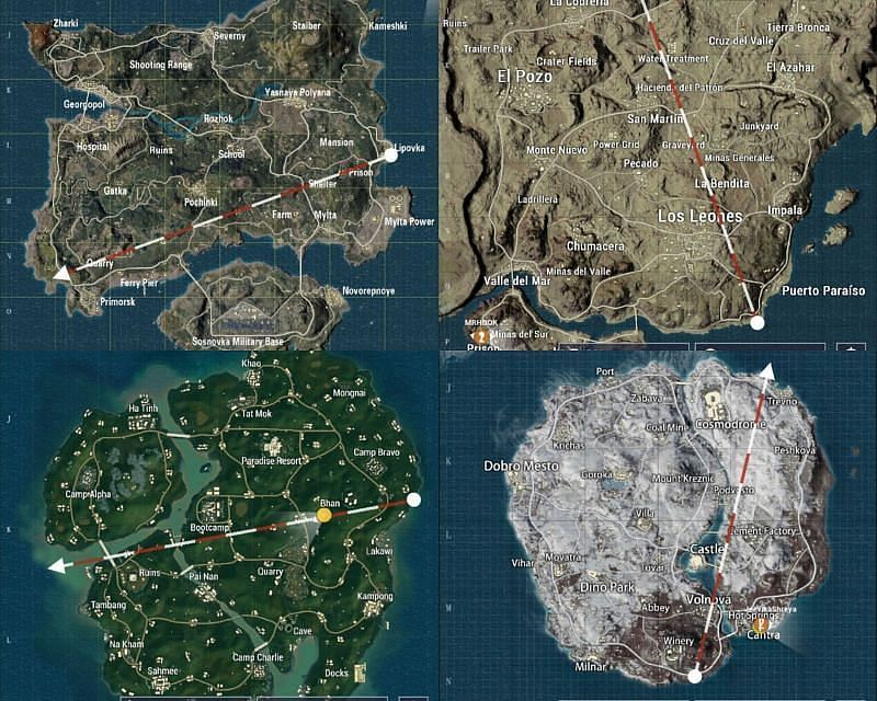 Maps in PUBG Mobile.