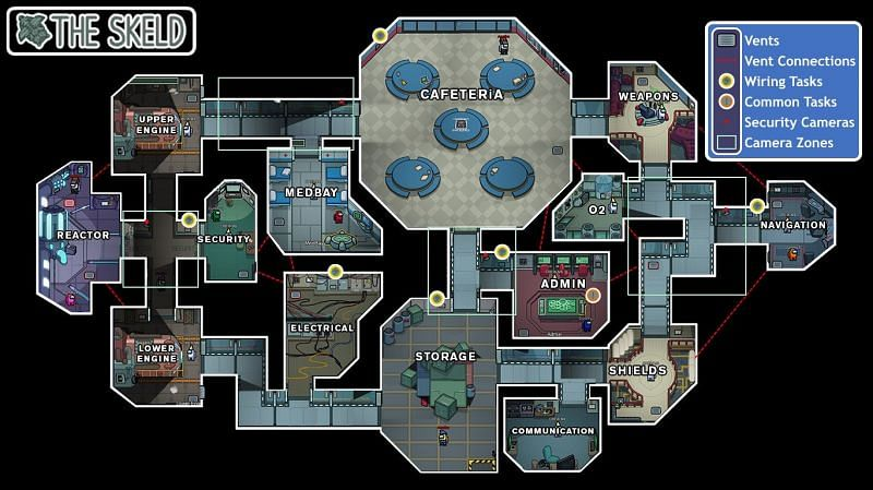 (Image Credit: Among Us Wiki) The Skeld map and vent network