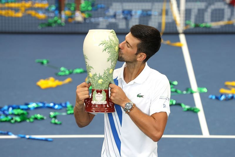 Novak Djokovic with his 2020 Cincinnati title
